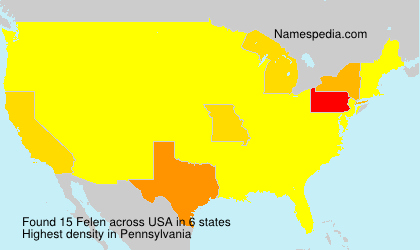 Surname Felen in USA