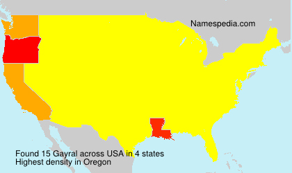 Surname Gayral in USA