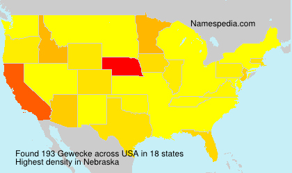 Surname Gewecke in USA