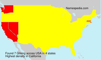 Surname Gilsing in USA