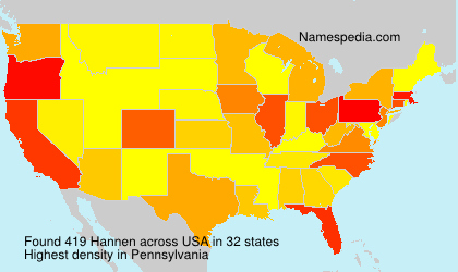 Surname Hannen in USA