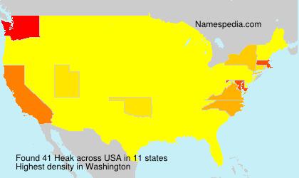 Familiennamen Heak - USA