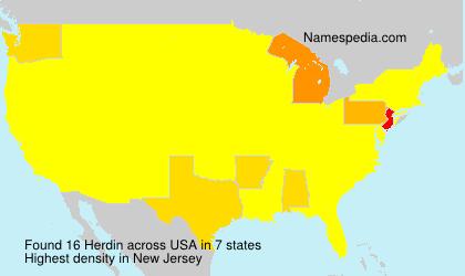 Familiennamen Herdin - USA