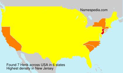 Familiennamen Herik - USA