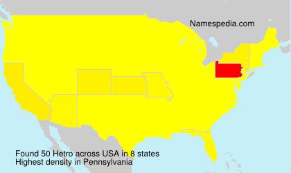 Familiennamen Hetro - USA