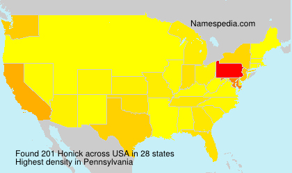 Surname Honick in USA