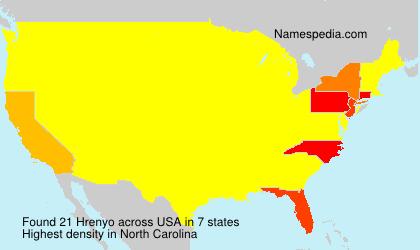 Familiennamen Hrenyo - USA