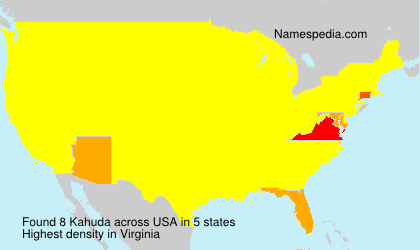 Surname Kahuda in USA