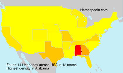 Surname Kanaday in USA