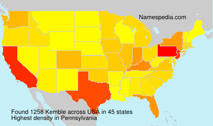 Surname Kemble in USA