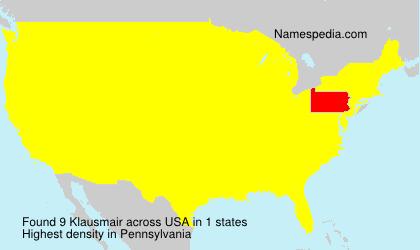 Familiennamen Klausmair - USA