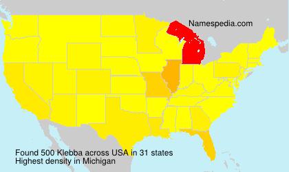 Familiennamen Klebba - USA