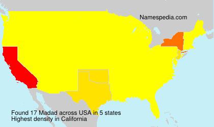 Familiennamen Madad - USA