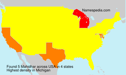 Surname Mahidhar in USA