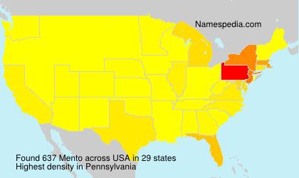 Familiennamen Mento - USA