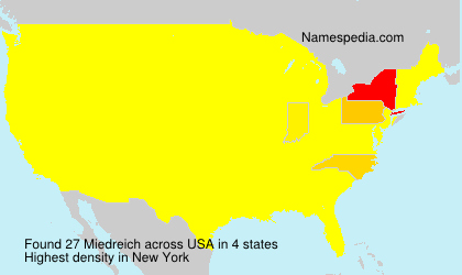 Surname Miedreich in USA