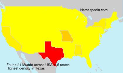 Familiennamen Mudda - USA