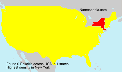 Surname Pakakis in USA