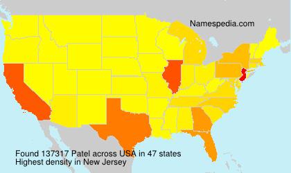 Familiennamen Patel - USA