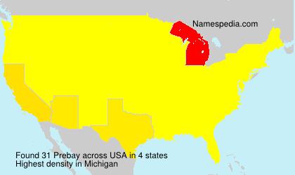 Surname Prebay in USA