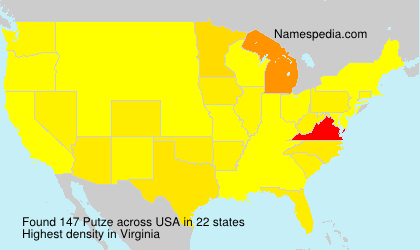 Surname Putze in USA