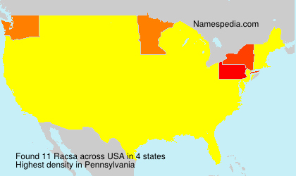 Surname Racsa in USA