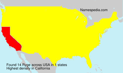 Surname Ryge in USA