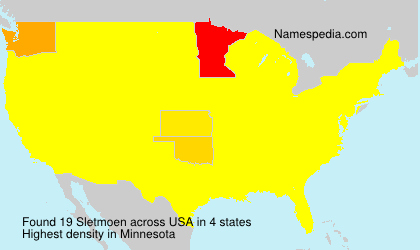 Surname Sletmoen in USA