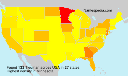 Surname Tiedman in USA