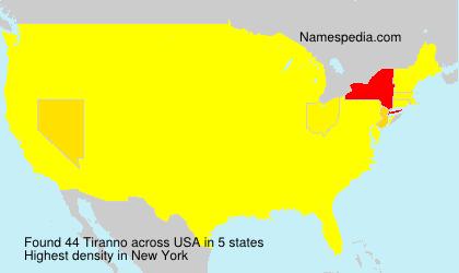 Surname Tiranno in USA