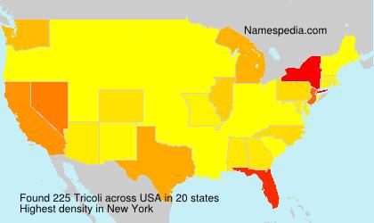 Surname Tricoli in USA