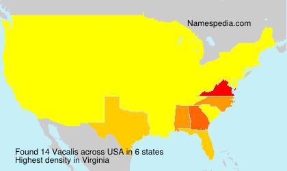 Familiennamen Vacalis - USA