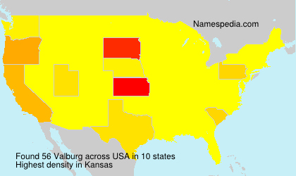 Surname Valburg in USA