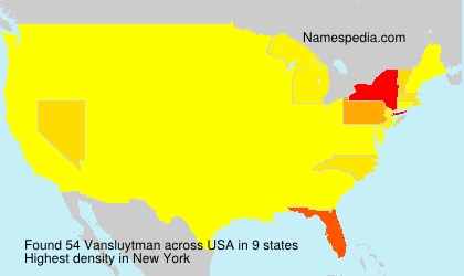Surname Vansluytman in USA
