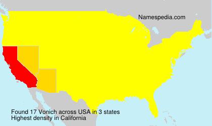 Surname Vonich in USA