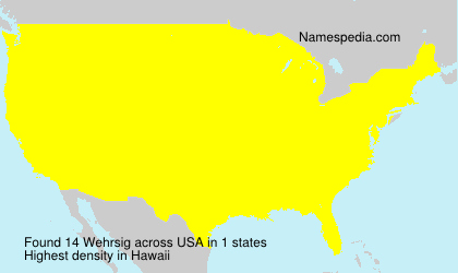 Surname Wehrsig in USA