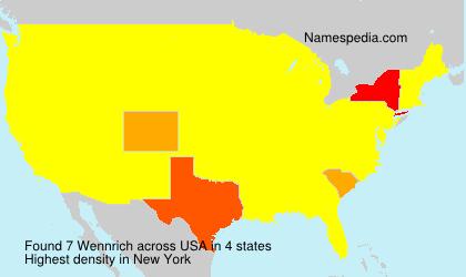 Familiennamen Wennrich - USA