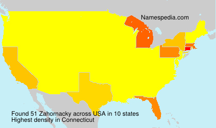 Surname Zahornacky in USA