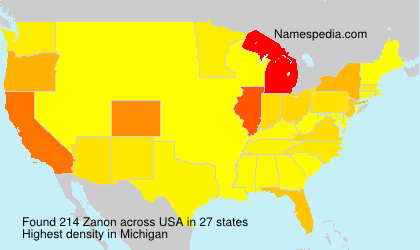Surname Zanon in USA
