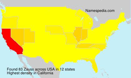 Familiennamen Zauss - USA