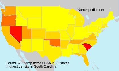 Surname Zemp in USA